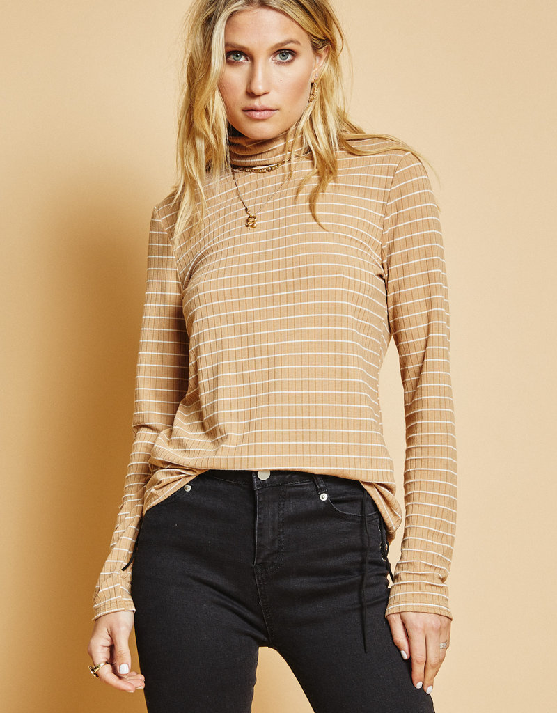 Sage the Label Lucille Long Sleeve Tan White