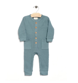 City Mouse Waffle Button Romper - Lake