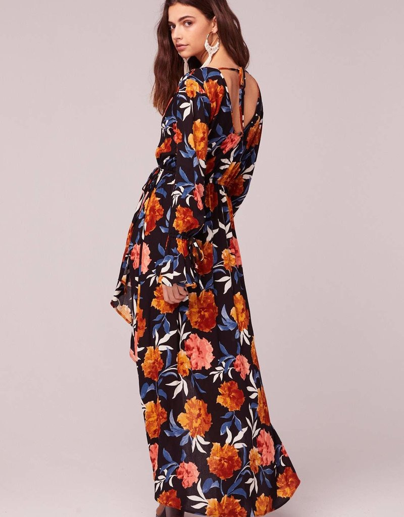 Band of Gypsies No Woman No Cry Black Floral Hi Lo Maxi Dress