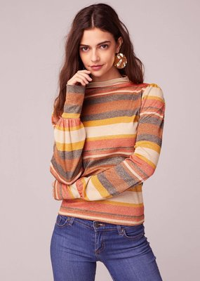 Band of Gypsies Ramble On Retro Stripe Lurex Mock Neck Top