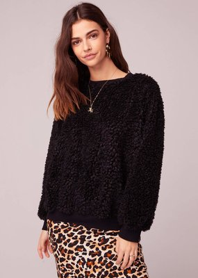 Band of Gypsies Back In Black Poodle Faux Fur Sweater