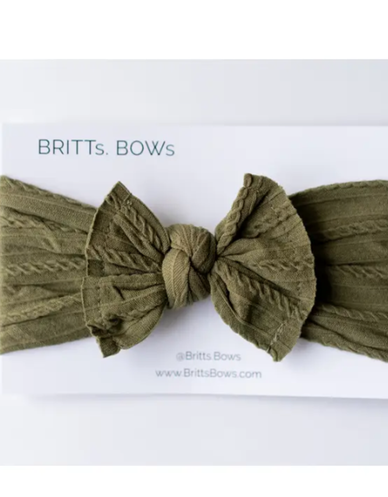 BRITTS. BOWS Forest Green Cable Knit Headband