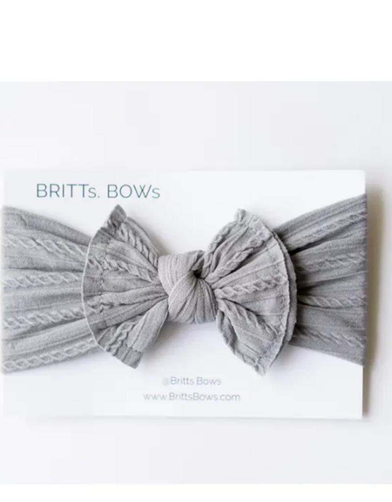 BRITTS. BOWS Dark Gray Cable Knit Headband