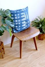 Norwegian Wood Pieced Pattern Square Indigo Pillow