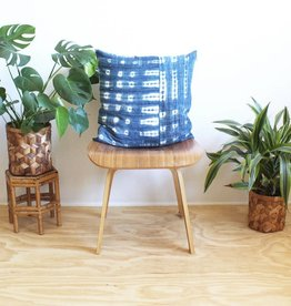 Norwegian Wood Pieced Pattern Square Indigo Pillow