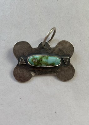 Bone Tag With Turquoise