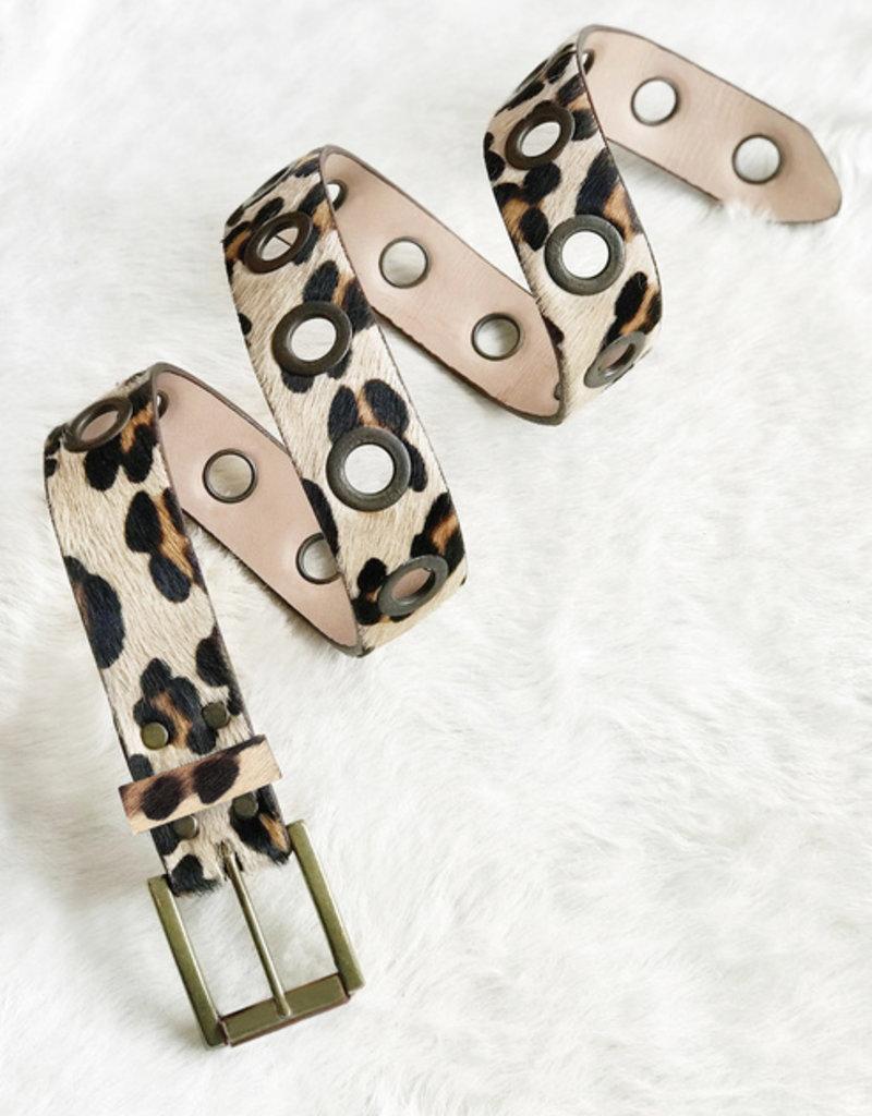 Brave Leather Ltd. White Leopard Belt