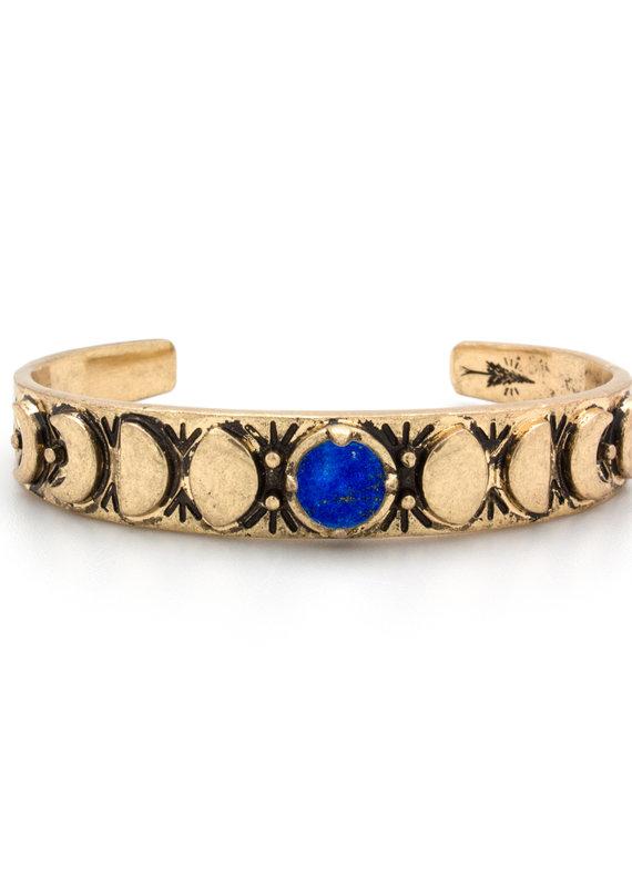 Hiouchi Jewels MOON PHASES CUFF BRACELET - Lapis