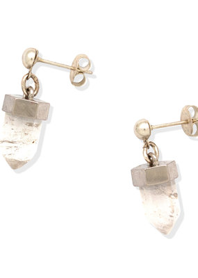 Hiouchi Jewels CRYSTAL POST EARRINGS - Silver