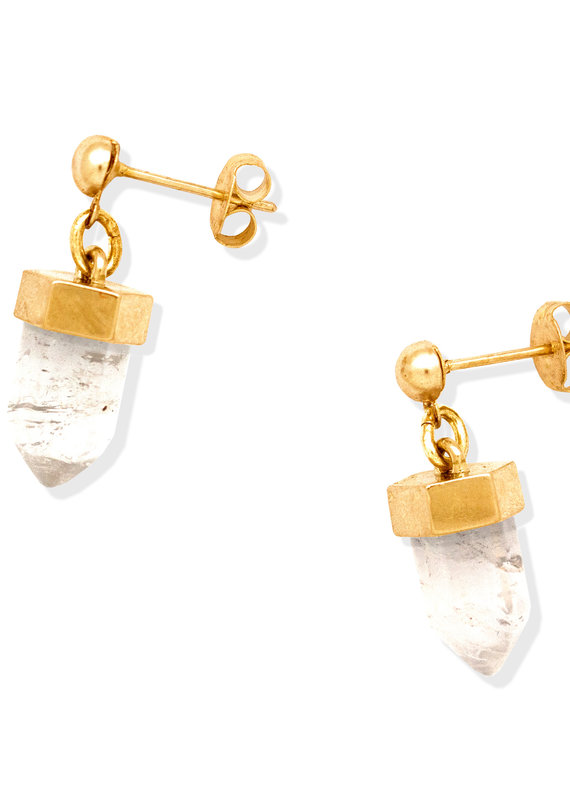 Hiouchi Jewels CRYSTAL POST EARRINGS - Gold