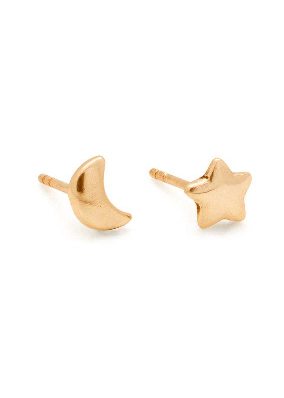Hiouchi Jewels MOON & STAR STUDS - Gold