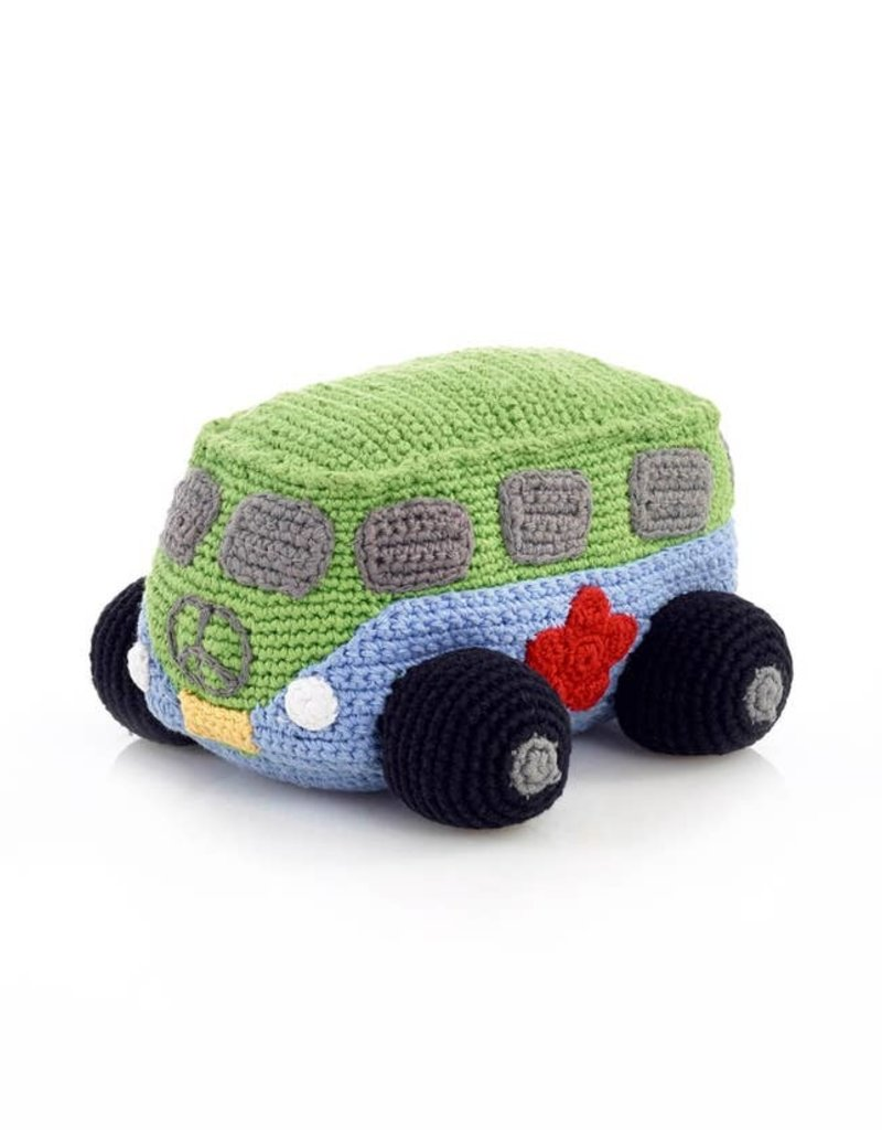 Pebble Blue Peace Campervan Rattle