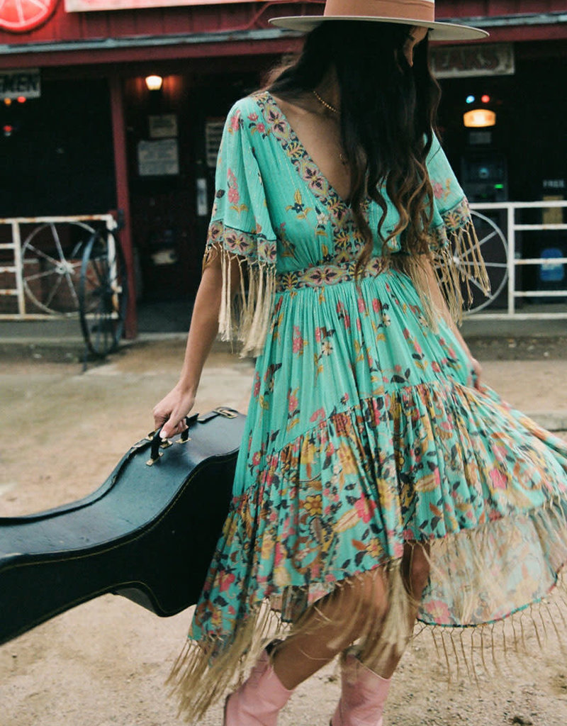 Spell and the Gypsy Collective Hendrix Tasseled Dress - Sky