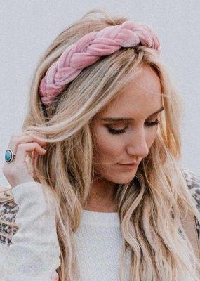 Midnight Rambler Braided Velvet Headband Pink