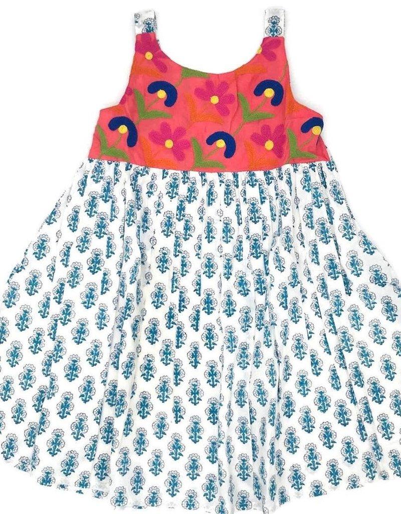 cheeni Misha Dress - Coral/blue