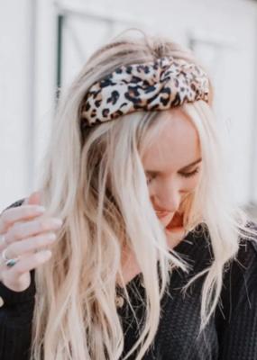 Three Bird Nest Leopard Twist Headband