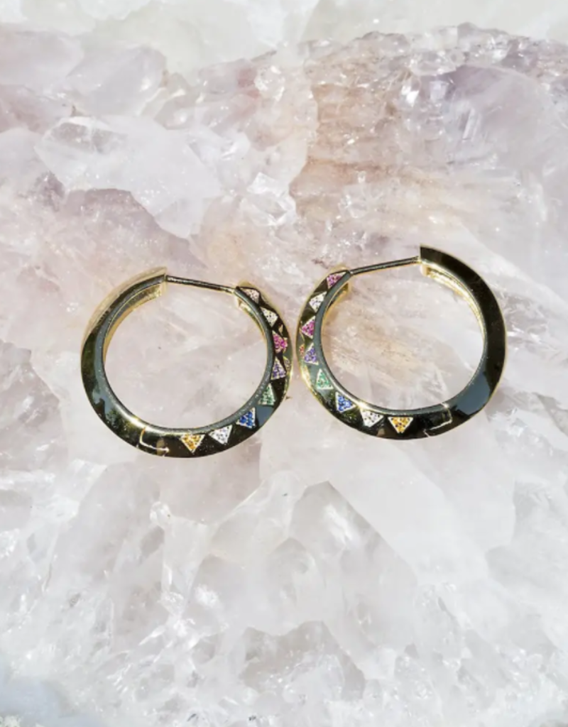 Native Gem Lightning Hoops - Rainbow