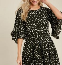 Blueivy Dalmation Print Ruffled Sleeve Dress