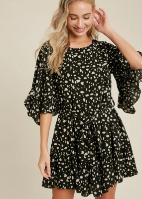 Blueivy Dalmation Print Ruffled Sleeve Dress