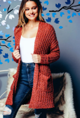 Sweaterland Popcorn Knit Cardigan - Rust