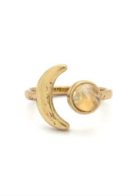 Hiouchi Jewels Mini Moon Adjustable Ring - Gold