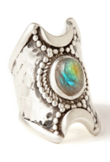 Hiouchi Jewels Crescent Moon Ring - Silver Labradorite 7