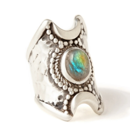 Hiouchi Jewels Crescent Moon Ring - Silver Labradorite 7