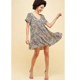 Endless Blu SS leopard print dress