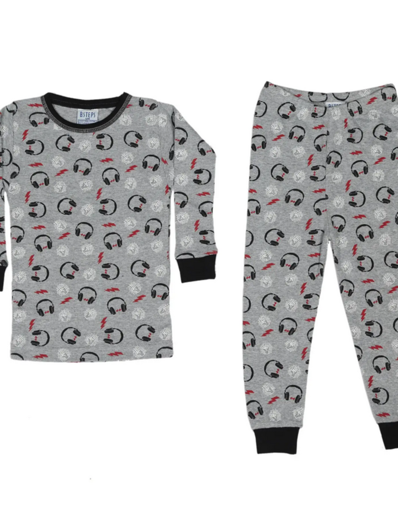 Baby Steps, inc Heather 2Pc Pajamas - Headphone Prints