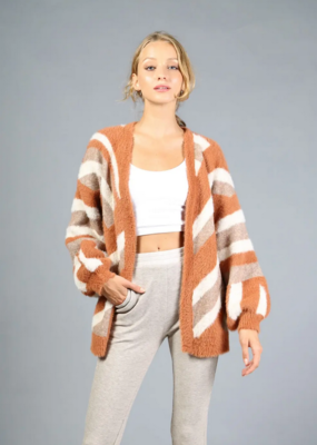Loveriche Camel Stripe Fuzzy Sweater