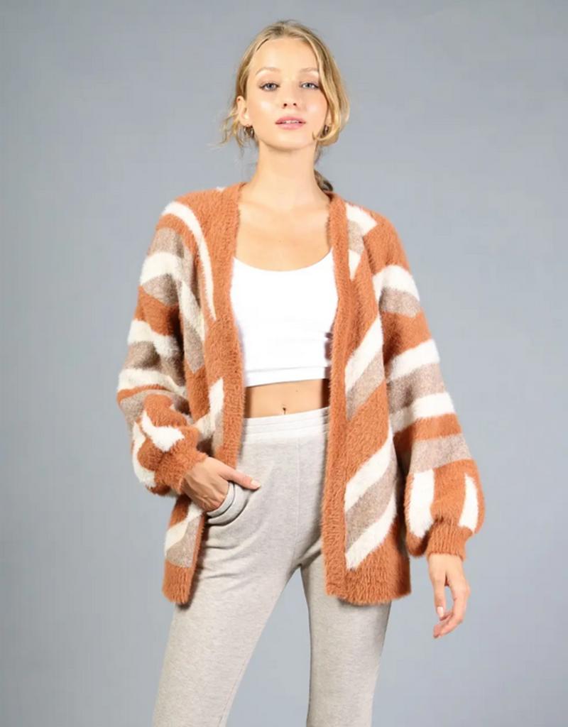 Loveriche Camel Stripe Fuzzy Sweater