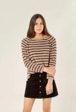 Rylee + Cru chenille sweater - oat stripe