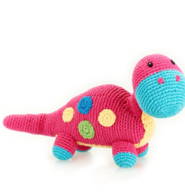 Pebble Dino Rattle Dippi Pink