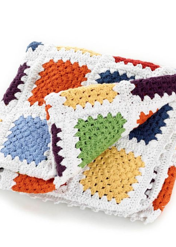Pebble Rainbow Granny Square Blanket
