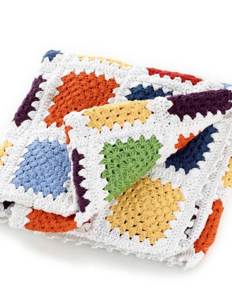 Pebble Rainbow Granny Square Blanket