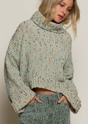 Pol Clothing Sage Popcorn Sweater