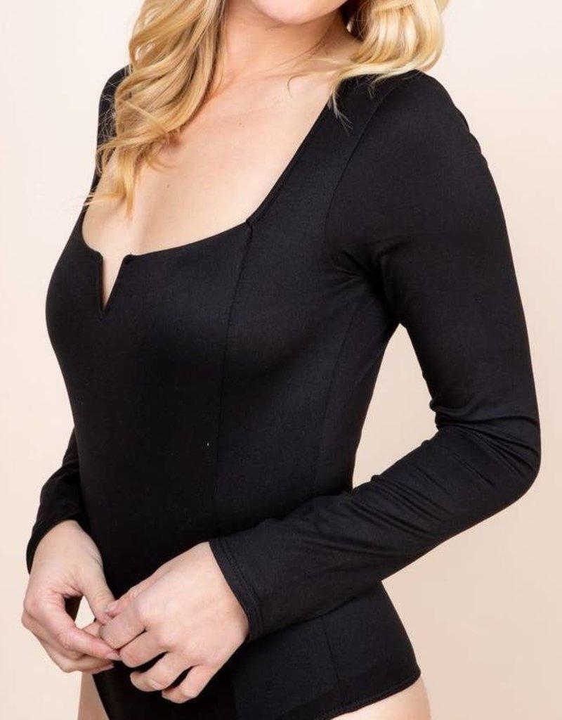 Saints & Hearts Long sleeve Bodysuit with keyhole Black