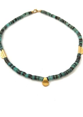 Heather Kahn Turquoise Waters Collar - Aqua Shell Heishi