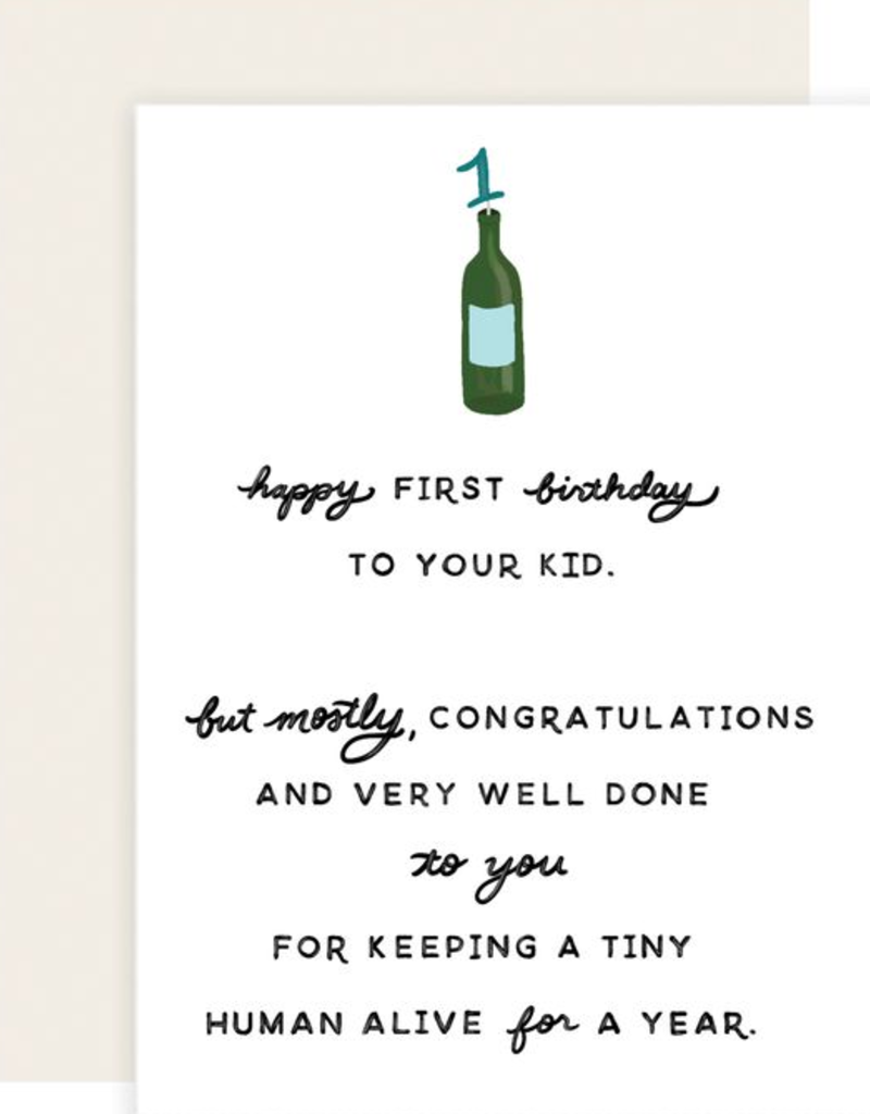 Slightly Stationery First Birthday Wine Card