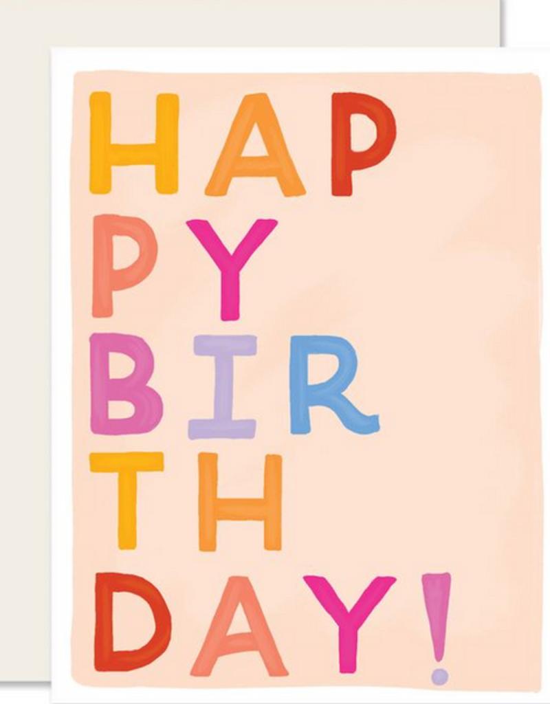 Slightly Stationery Birthday Block Letters Card