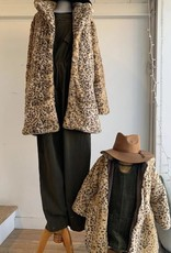 Midnight Rambler Hooded Zip Pompom Coat - Leopard