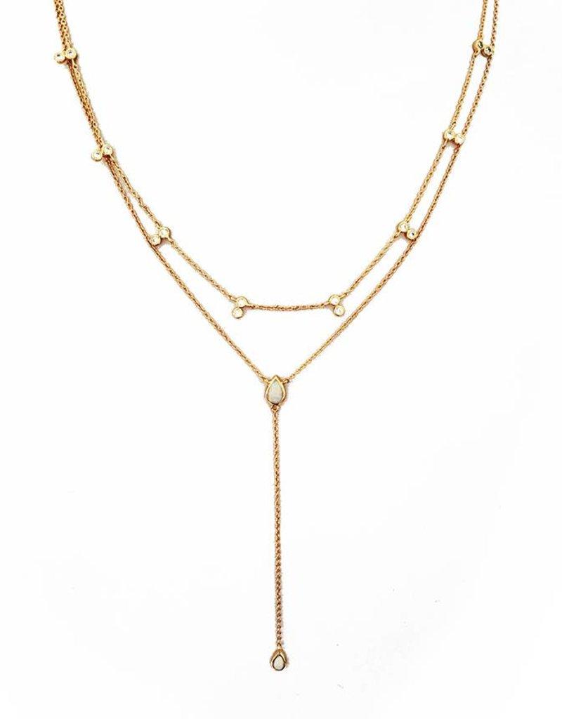 Elizabeth Stone Elizabeth Stone Double Tear Drop Layered Necklace