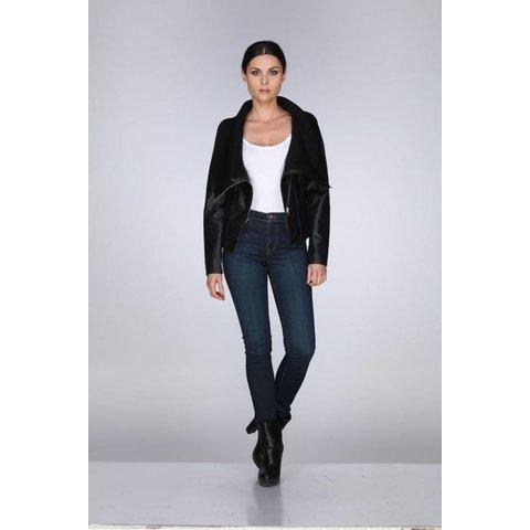 Rebecca Elliot Black Collar Ribbed Jacket