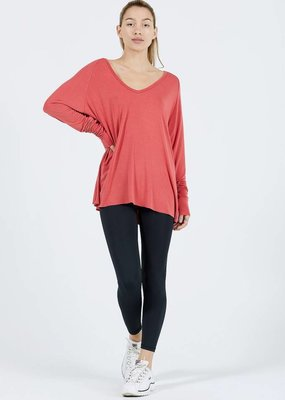 Joah Brown For Keeps V Neck Tee Cherry