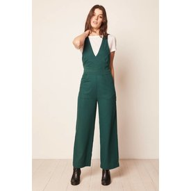 Rollas Old Mate Linen Jumpsuit 90s Green