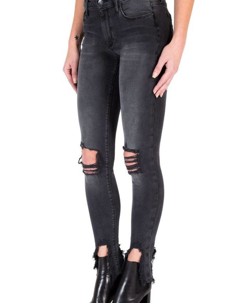 Black Orchid Black Orchid Jude Mid Rise Super Skinny with Chewed Hem in Mad House
