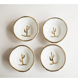 Glazed Copitas- White, Gold Rim, Gold Cactus