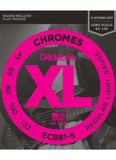 D'Addario D'Addario ECB81-5 Chromes Bass 5-String, Light, 45-132, Long Scale
