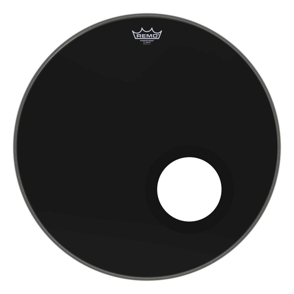 "Remo Remo 22"" Powerstroke 3 Ebony with Port Hole"