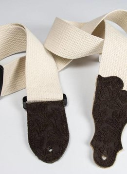 "Franklin 2"" Cotton Strap with Embossed Ends, Natural/Chocolate"